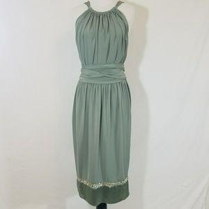 Vera Wang Bridesmaid Gown Halter Wrap Sequin Trim